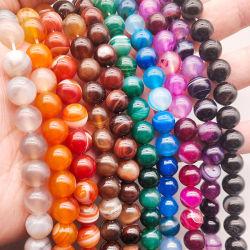 La couleur naturelle teints lâche Perles de pierre Stripe Agate perles de pierres rondes poli