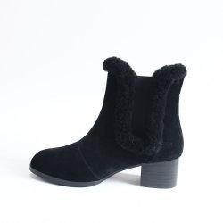 La mujer de la moda de cuero Zapatos de invierno verdadero Sheepskin botas de tacón