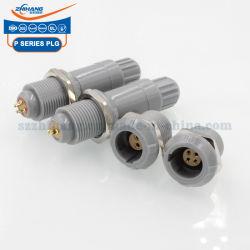 La série P Plg 1p l'écrou simple prise fixe en plastique du connecteur push-pull Shell gris