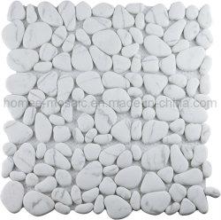Foshan estilo popular grossista Cararra Mosaico Mosaico de seixos de vidro branco