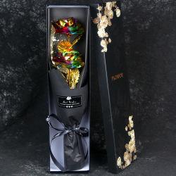 영원한 사랑 로즈 골드 로즈 24K 인조영원히 로즈 부케, 그녀를 위한 골드 호일 웨딩, 여자 여자 여자 친구를 위한 24K 금 도금 로즈 결혼 제안 선물