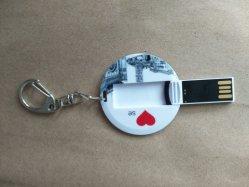 Petit cercle/Round Business Card USB 2GB 8GO 4giga Pen Drive/Flash lecteur avec l'impression personnalisée