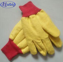 Безопасности хлопка с другой стороны сеялки перчатки с ПВХ точек, холст Gloveswith красный запястья