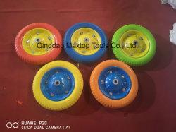 手のトロリートラック手押し車のためのゴム製PUの泡の平らで自由な車輪