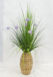 Realista pasto cebolla planta en maceta de flores artificiales - Cesta de tejido trenzado