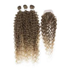 옴브레 블론드 3팩 깊고 곱슬곱슬한 합성 머리 위브(Weave) 1 모발 폐쇄(Closure) 확장부