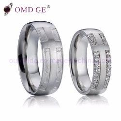 Unisexe Anneaux de mariage de diamant en acier inoxydable pour l'anniversaire