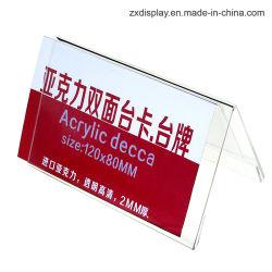 Doppelter seitlicher freier Acryltisch-Namenskartenhalter, der Namensmarken-Standplatz trifft