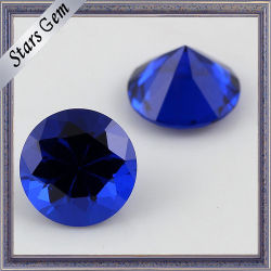 113# 물 보석을%s 파란 둥근 기계 커트 공장 직매 인공적인 첨정석 원석