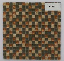 Дешевые цены смешанной окраски хрустальное стекло травертина мозаика из камня для кухни и ванной комнаты