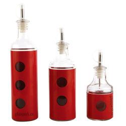 Jeu de 3 Cylindre huile de cuisson claire vide bouteille en verre avec distributeur