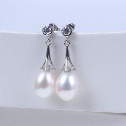 925 Silver Earring крюк и ресурсов пресной воды в раскрывающемся списке жемчужина форму валика клея