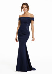 方法Strapless Mother Formal Gowns濃紺Chiffon Sheath Evening Dresses
