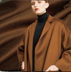 Fibras naturais de qualidade superior Worsted 80% 10% de lã Lã Cashmere 10% de mistura de seda tecido Casaco dupla face
