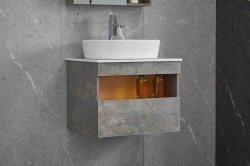 خزانة الحمام من الخشب الرقائقي، خزانة المرايا مع قشرة زينية رمادية