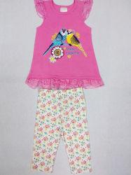 Sommer-Sleeve Großhandelskind-Vogel gedruckte Spitze-Hülsen-und Unterseiten-Kind-Kleidung kurz Baby-Shirt-gesetztes Mädchen-Kleidungs-Set