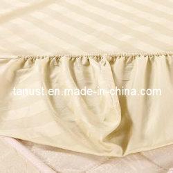 고밀도 면에 의하여 빗질되는 줄무늬 공단 침대 시트를 까는 직물 (CTN300L)