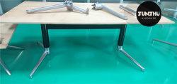 Tubo de alumínio preto da base da mesa de café moderno com topo MDF branco