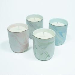 La fragancia personalizada de cerámica de veteado natural de tarros de cera de soja