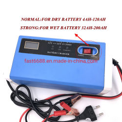 Automatic 12V 24V 10um Smart Battery Charger com visor LCD de ácido de chumbo do carregador da bateria