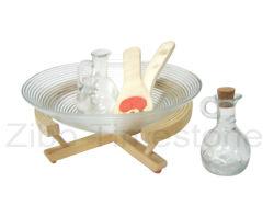 Ensaladera de vidrio con la bandeja de madera y la cuchara (TM030S)