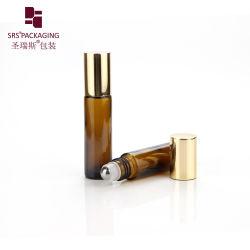 Profumo olio essenziale Confezione 5 ml 6 ml 8 ml 10 ml Nero trasparente Flacone con rullo in vetro avvolgibile blu color ambra con Cappuccio in alluminio a sfera oro