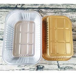 La aviación de vajilla desechable Fiambrera Rectangular Caja de aluminio de procesamiento de contenedor de papel de aluminio Envases personalizados Takeout Fiambrera