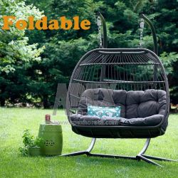 접히는 여가 현대 고리 버들 세공 등나무 거는 계란 두 배 그네 의자