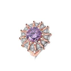 Лампа Аметист CZ камня 925 стерлингов Серебряное кольцо для женщин
