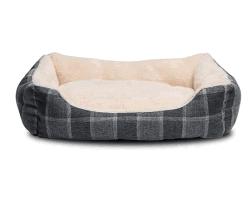 Mousse à mémoire de l'aise intérieur cuir de daim lavable réversible Pet Pet lit de chien et chat