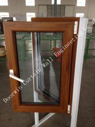 Acabado de madera de color PVC Casement Windows para la construcción