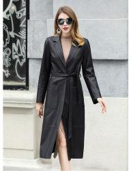 Schapenvacht Winter Women Long Leather Jacket nieuwe aankomst superieure kwaliteit Echt modieus leren jack