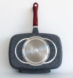 30/32/34/36cm Alumínio Fundido Square frigideira para grelhar