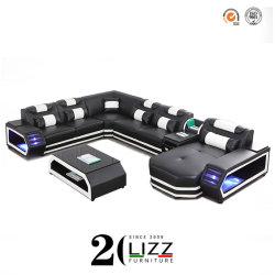 Moderne moderne Freizeit-Ausgangswohnzimmer-echtes Leder-hölzerne Rahmen-Ecken-Sofa-Stuhl-Großhandelsluxuxmöbel eingestellt mit Fernsehapparat-Schrank u. Coffeetable u. sensorische LED