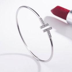 Braccialetto cubico del braccialetto di figura di Zirconia H disegno d'argento dei monili di modo 925 di nuovo