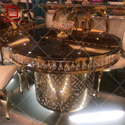 Das Speisen gesetzter des Tisch-Hochzeits-Möbel-Edelstahl-Speisetisches stellte 6 Stühle ein