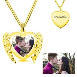 Coeur Necklace Angel Wings colliers, personnalisé pour les Femmes Hommes Deux collier, pendentif photo personnalisé