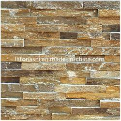 Slate Peitoril quartzito mosaico de pedra a pedra de pilha para a parede do recurso
