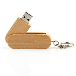 Оптовая торговля дерева индивидуальные поворотного флэш-накопитель USB 1 ГБ 4 ГБ 16ГБ Гравировка логотипа 128 ГБ, 256 ГБ деревянные диск USB Memory Stick™