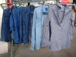 الملابس المستعملة جينز دنيم أزرق القطن النحيفة النحيفة سروال طويل تزلج مخصص