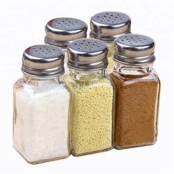 명확한 정연한 부엌 저장 금속 뚜껑을%s 가진 유리제 향미료 단지