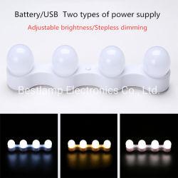 전구 USB/Battery 스튜디오 목욕탕 미러 메이크업 점화를 흐리게 하는 4 LED