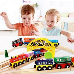 Los niños de madera Juguete Educativo Coche tren magnético Compatible con juegos de Thomas Vía Férrea Coches