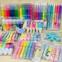 Venda por grosso de alta qualidade Papelaria Escolar Multi Color Marcador conjuntos de canetas