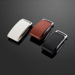 Em pele verdadeira unidade flash USB com o logotipo personalizado Caixa de oferta