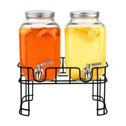 Dispensador de bebidas de vidrio al por mayor de Doble soporte de metal de forma cuadrada de acero inoxidable con grifo
