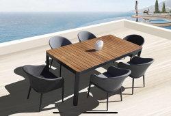 現代ダイニングテーブルのプラスチック木製の上およびファブリック椅子セット