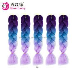 100g/Pack 24pouces tresses de cheveux Kanekalon Jumbo Ombre 3 Tone Couleur de cheveux synthétiques pour les poupées Crochet sèche