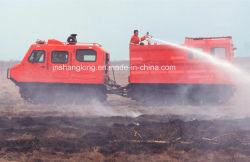 Incendio forestale che combatte tutto il veicolo della sezione del doppio del terreno