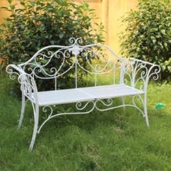 Hot Sale pliage Banc de jardin en fer forgé blanc